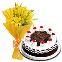 3 Yellow Lily 500 gms Black Forest Cake