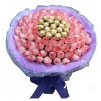 50 Pink Roses 16 Pcs Ferrero Rocher Bouquet