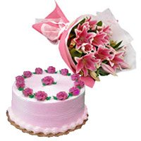 5 Pink Lily Bouquet 500 gms Strawberry Cake