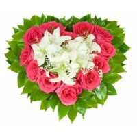 5 White Lily 24 Pink Roses Heart Arrangement