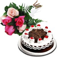 6 Mix Roses 500 gms Black Forest Cake