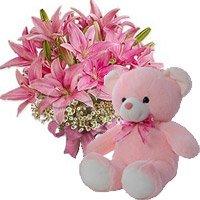 6 Oriental Pink Lily, 6 Inch Teddy Bear