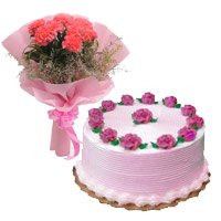 6 Pink Carnation 500 gms Strawberry Cake