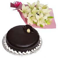 6 White Lily Bouquet 1 Kg Chocolate Truffle Cake
