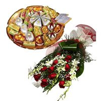 6 White Orchids 12 Red Roses Bunch 1 Kg Assorted Kaju Sweets