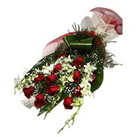 6 White Orchids 12 Red Roses Flower Bouquet