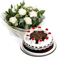 6 White Roses 500 gms Black Forest Cake