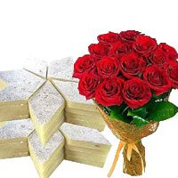 Bunch of 12 Red Roses with Half Kg Kaju Barfi