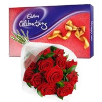 Cadbury Celebration Pack with 12 Red Roses Bunch