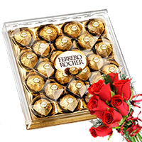 Ferrero Rocher Chocolates 24 Pieces with 6 Red Rose Bunch