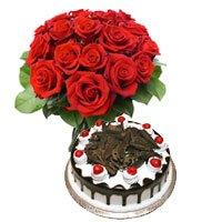Half Kg Black Forest Cake 12 Red Roses Bouquet