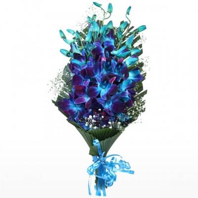 Blue Orchid Bunch 5 Flowers Stem
