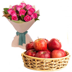 Pink Roses Bouquet With Apples in Basket