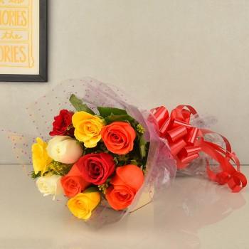 10 Mixed Roses with Roli Tikka