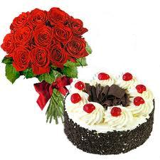 12 Red Rose Bunch with 1 Kg Black Forest Cake