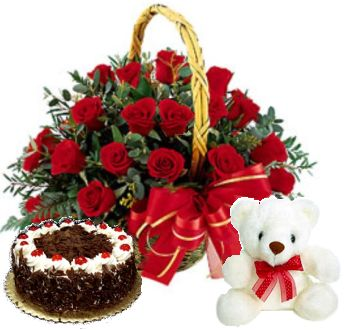Buy Online Cake Teddy Rose Basket Combo Flower Cake