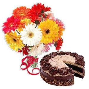 6 Gerbera & 1 kg Black Forest Cake