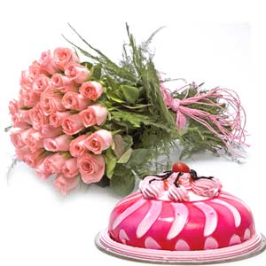 20 Pink Rose Bunch and 500gms Strawberry Flavored Cake