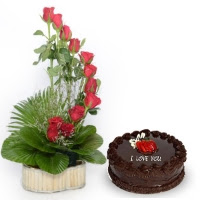 Rose Basket with Cake