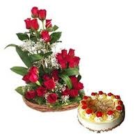 Big Rose Basket with Cake