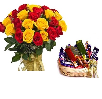 Mix rose with chocolate basket