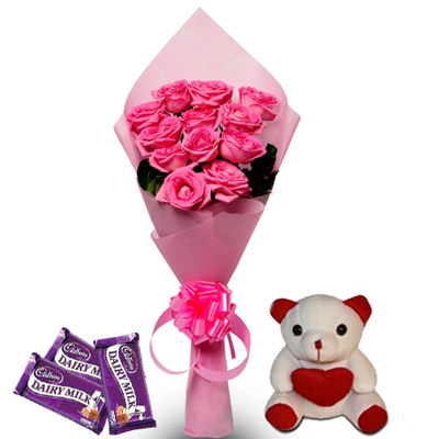 Pink Roses Teddy with Chocolates