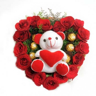 Heart of Roses Chocolate Teddy