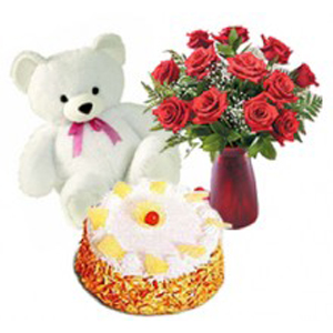 Half Butterscotch Cake With 12 Red Roses and Teddy