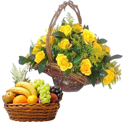 Yellow Roses Basket With Fruits