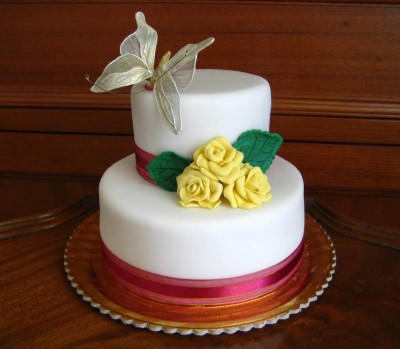 2 Tier Butterfly Wedding Cake 3 Kg (On Two Days Prior Order)
