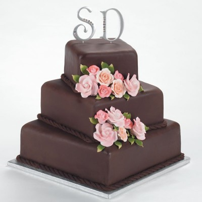 3 tier 3 Kg Monogram Chocolate Truffle Cake   (On Two Days Prior Order)