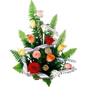 Colourful Basket of 12 Fresh Multicolored Roses