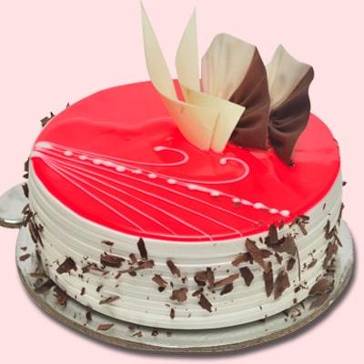 1 Kg red glaze Strawberry Cake