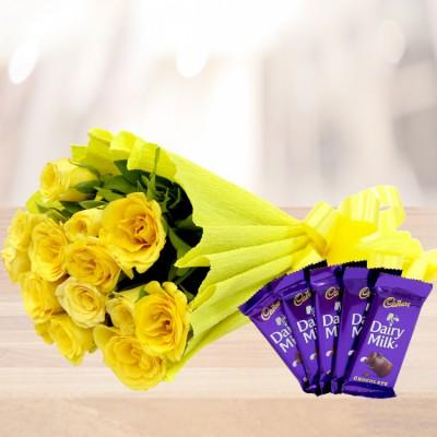 12 Yellow Roses with 5 Dairy Milk Chocolates
