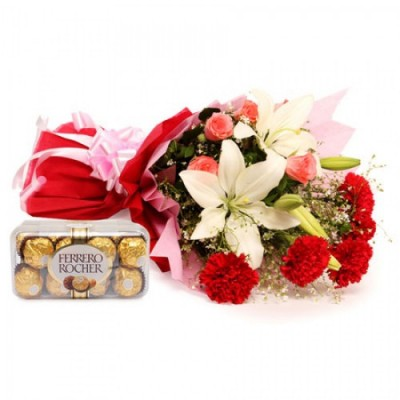 Bunch of 5 carnation, 3 lilly, & 5 roses with 1 ferroro rocher chocolate box 16 Pcs
