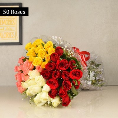 Bright Mix 50 Colorful roses