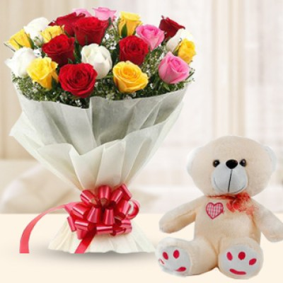 12 Mixed Roses and 1 Teddy (6 Inches)