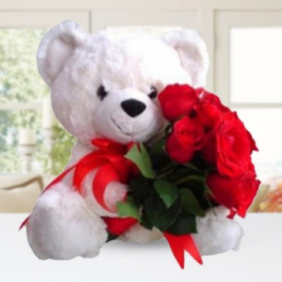 10 Red Roses with a Huggable Teddy of 15 Inches