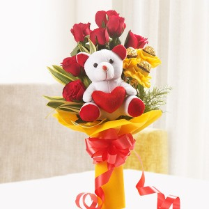 3 pcs Ferrero Rocher Chocolate with 8 Red Roses and 6 inch Teddy Bear