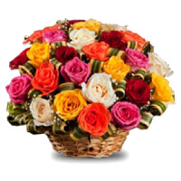 Mixed Roses Basket 30 Flowers