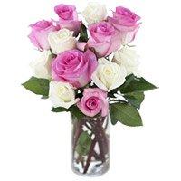 Pink White Roses Vase 12 Flowers