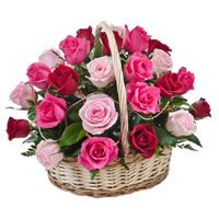 Red Pink Peach Roses Basket 24 Flowers