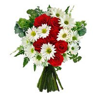 Red Roses White Gerbera Bouquet 12 Flowers