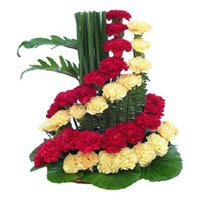 Red Yellow Carnation Arrangement 50 Flowers