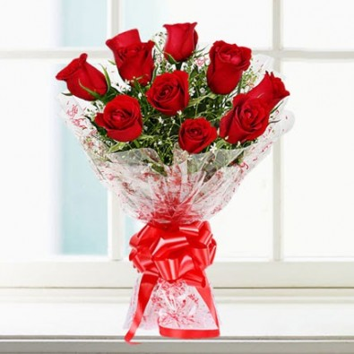 Send 10 red roses bunch, lovely bunch