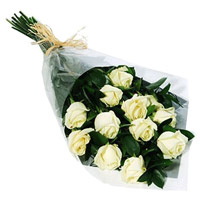 White Roses Bouquet 12 Flowers