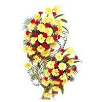 Yellow Gerbera Red Carnation Arrangement 100 Flowers