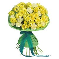 Yellow White Carnation Bouquet 36 Flowers