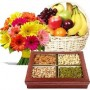 12 Mix Gerberas, 3 Kg Fresh Fruit Basket, Half Kg Mixed Dry Fruits