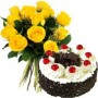 12 Yellow Roses 1 Kg Black Forest Cake